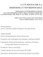 A UN SIGLO DE LA REFORMA UNIVERSITARIA